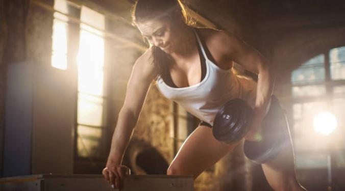 donna, fitness, allenamento, muscoli