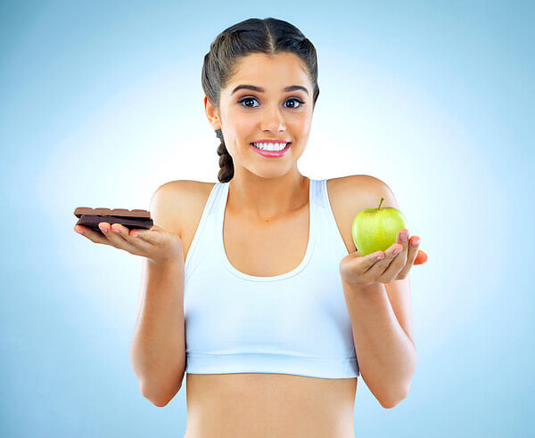 mujer, dieta, dulce, manzana