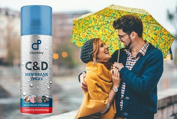CD waterproof Membrane Spray, coppia felice sotto la pioggia
