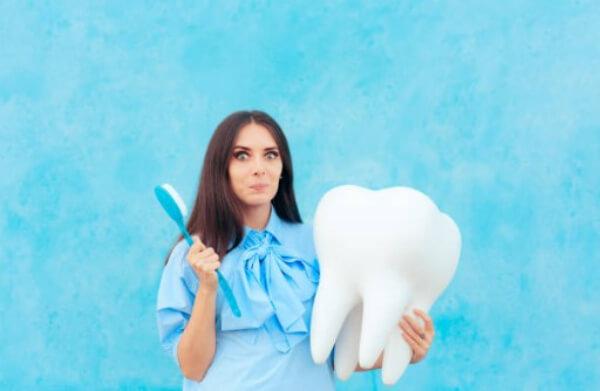 donna, spazzolino da denti, denti