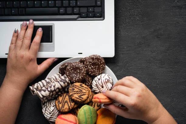 comer, dulces, ordenador portátil